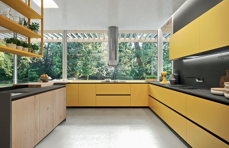 Ambra Yellow and Piombo Grey frosted glass doors and Biondo Antique Oak doors. #ArritalCucine #Kculture #modern #kitchen #Ak04