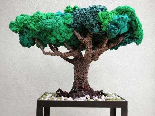 Bonsai made from recycled Tshirts