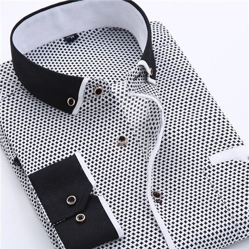 VISADA JAUNA Men's Shirt Printed Casual Brand Clothing Slim Fit Long-sleeve Cotton Business Male Shirts Plus Size S-4XL N454