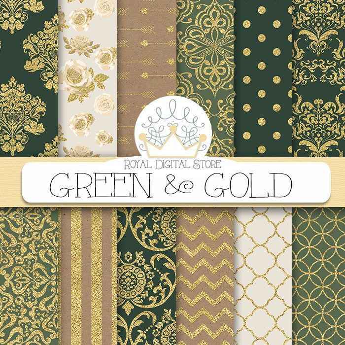 "Damask Digital Paper: "" GREEN & GOLD"" with gold damask background, green damask patterns, kraft paper and gold for planners, scrapbooking #gold #damask #digitalpaper #scrapbookpaper #planner #partysupplies"