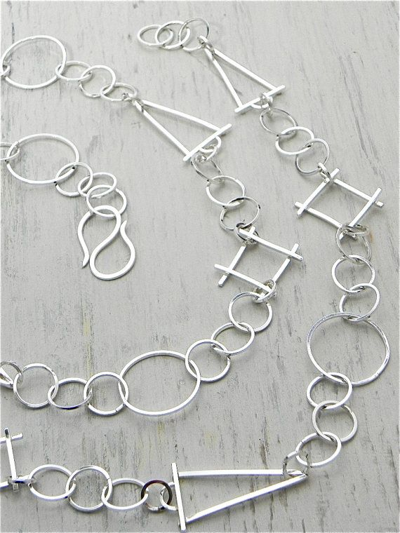 Sterling Silver Geometric Link Handmade Chain Handmade by joykruse, $425.00