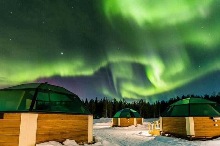 Aurora over Glass Igloos at the SnowHotel in Kirkenes, Norway