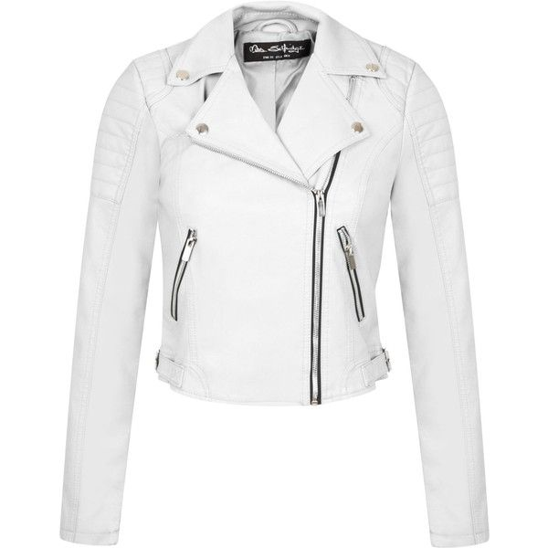 Miss Selfridge White Cropped Biker Jacket (1,255 MXN) ❤ liked on Polyvore featuring outerwear, jackets, leather jackets, white, women, white moto jacket, motorcycle jacket, real leather jacket, white jacket and biker jacket