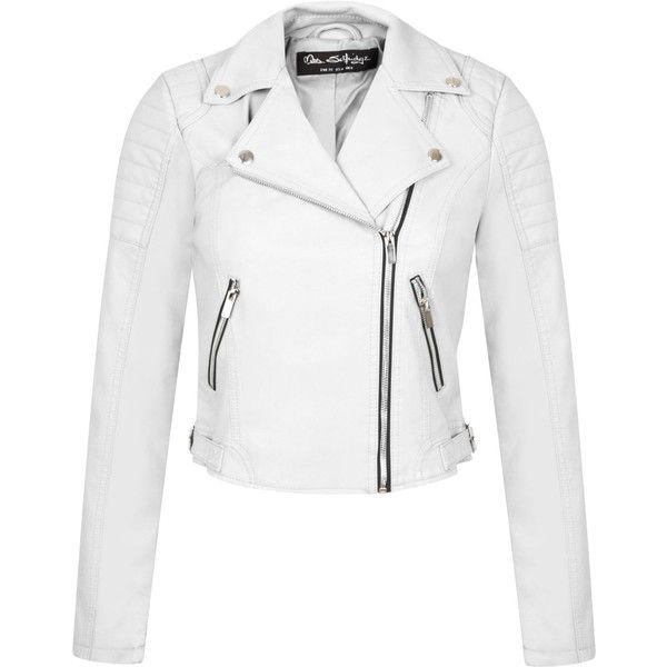 Miss Selfridge White Cropped Biker Jacket (1,255 MXN) ❤ liked on Polyvore featuring outerwear, jackets, leather jackets, white, women, white moto jacket, motorcycle jacket, real leather jacket, white jacket and biker jacket