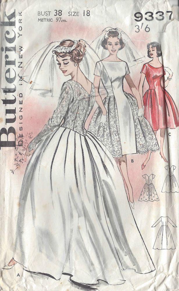 Patron Couture B38 Vintage 1950 Robe Mariée Et Demoiselle Honneur (1021)