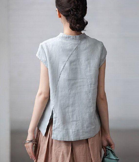 Slanting Collar Linen Shirt by zeniche on Etsy