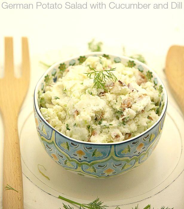 German Potato Salad with Cucumber and Dill Recipe Salads with yukon gold potatoes, sweet onion, diced celery, cucumber, rice vinegar, light sour cream, greek yogurt, fresh dill, kosher salt, ground black pepper, center cut bacon