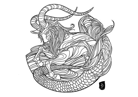 63 best images about cool stuff on pinterest capricorn for Capricorn coloring pages
