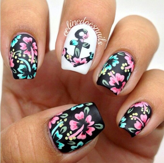 Tropical flower/ nautical nail art | Nail Art Ideas ...