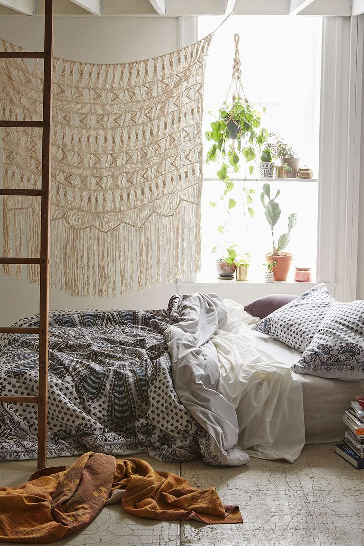 Small messy apartment bedroom - Magical Thinking Farah Medallion Duvet Cover