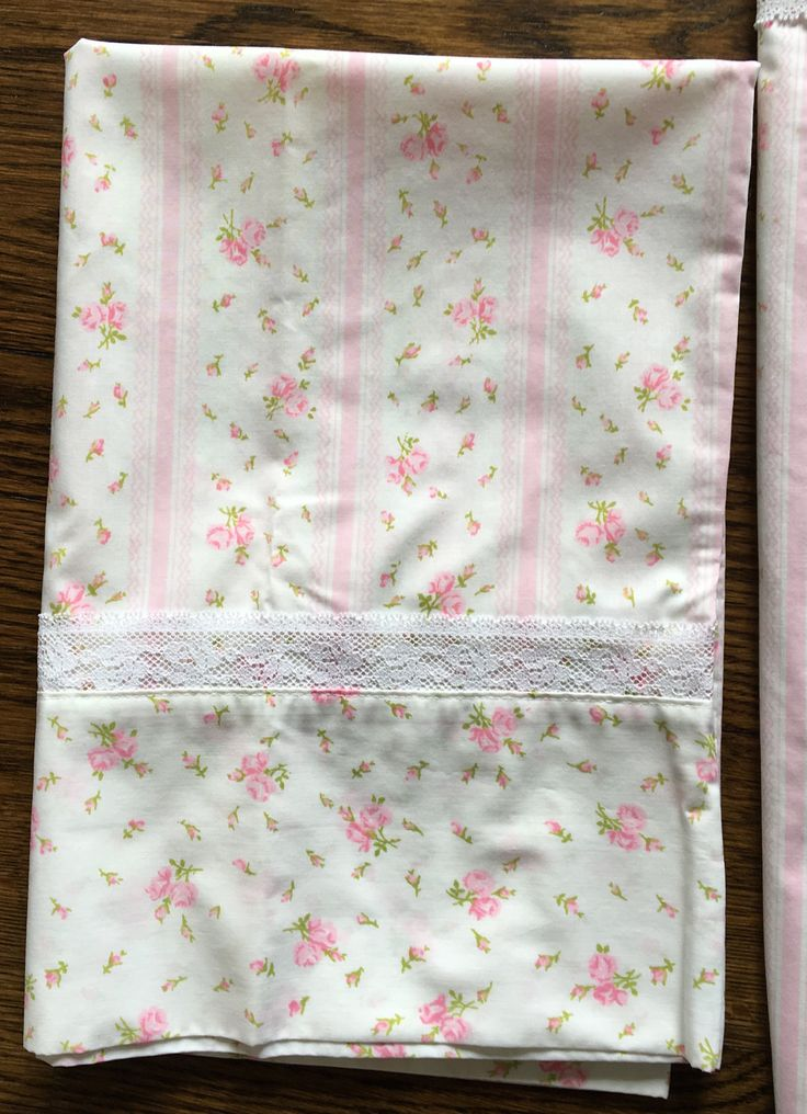 jc penney pink floral rose flowers lace trim double bed flat sheet and 2 pillowcases vintage bedding set new
