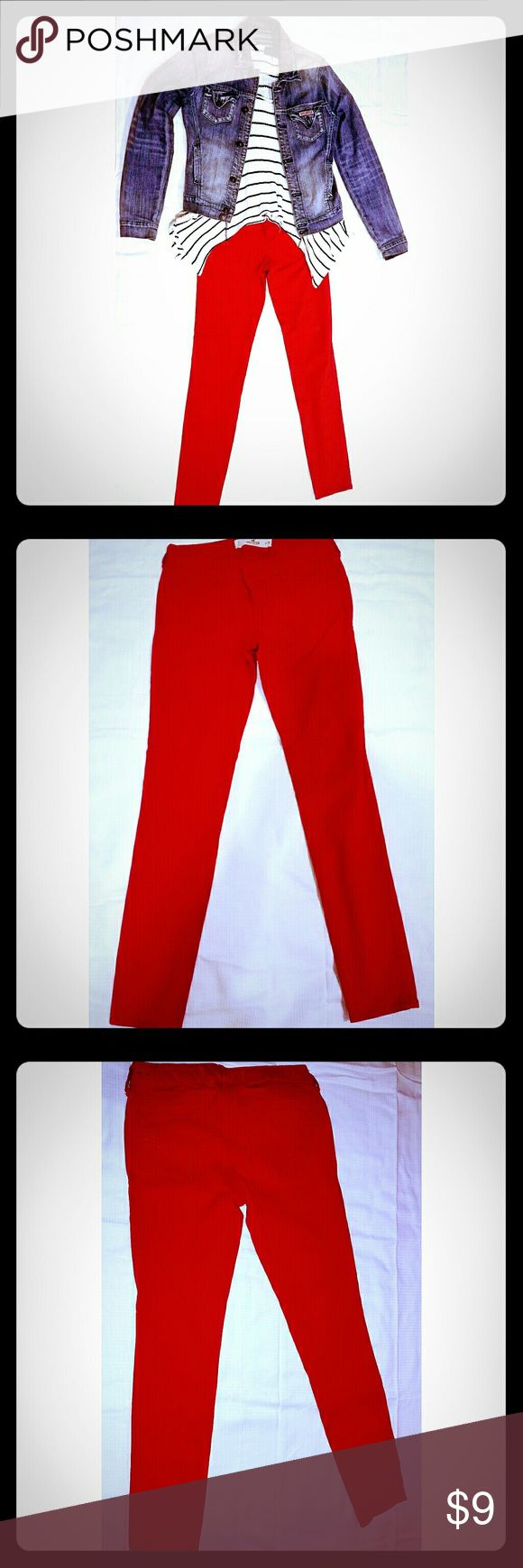 Red Hollister jeans Bright, engine red, Hollister jeans. Gently used twice. Size 3. *** SMOKE AND PET FREE HOME *** Hollister Pants Skinny