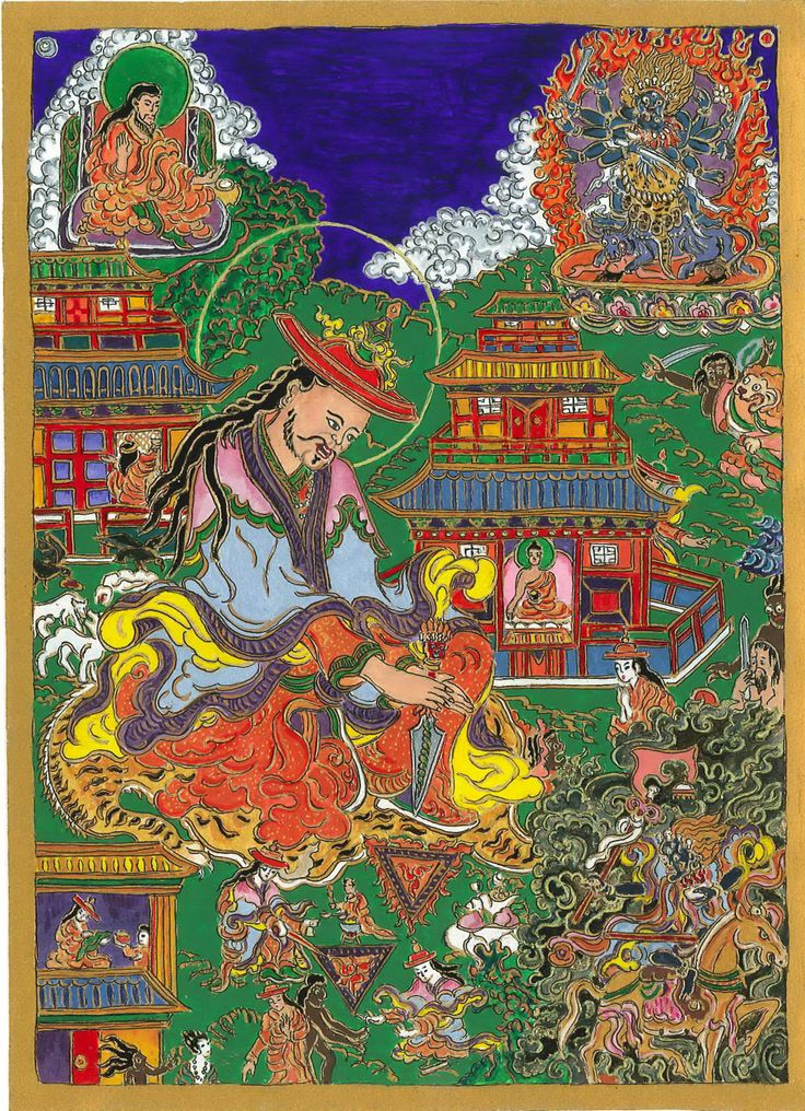 Mongolian shaman with a phurbu (ceremonial knife) performing a ritual for protection and chasing away armful entities. The picture is based on an original Mongolian scroll paintig. It's one o my recent work (3Mrach - 22 March) invoking protection against the challenging constellations of this spring.