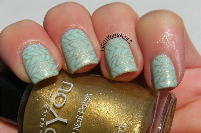Nail Designs 2016/2017  Mint and gold stamping nail art by Simona  	Via Flickr