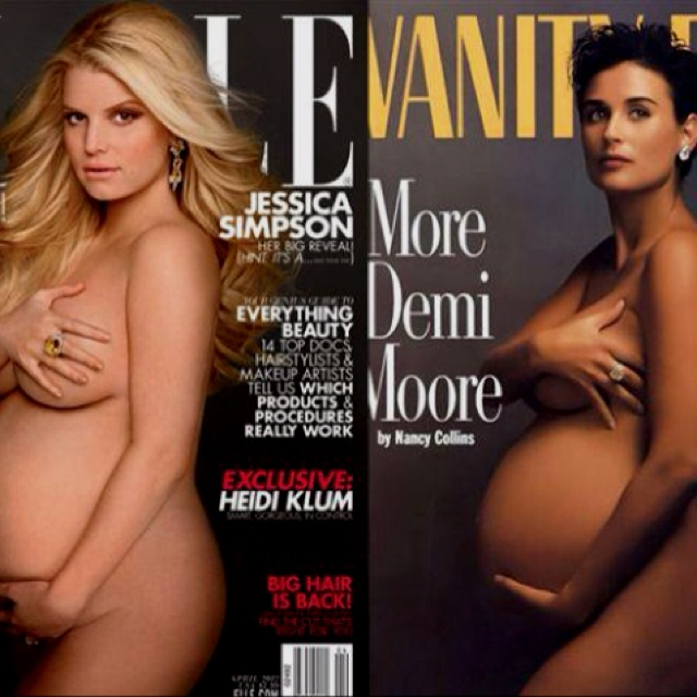 Jessica Simpson and Demi Moore, pregnant and on the covers of magazines. Beautiful.