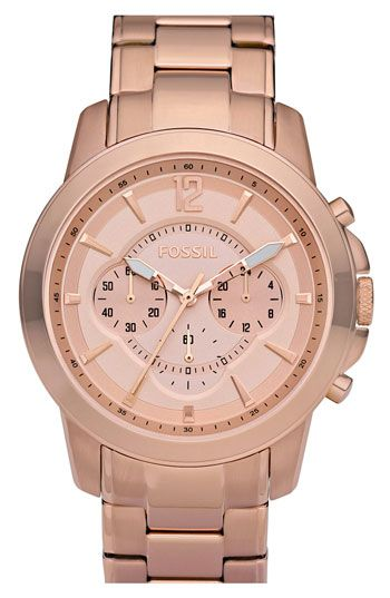 This rose gold is such an exquisite color! Fossil Rose Gold Chronograph Bracelet Watch