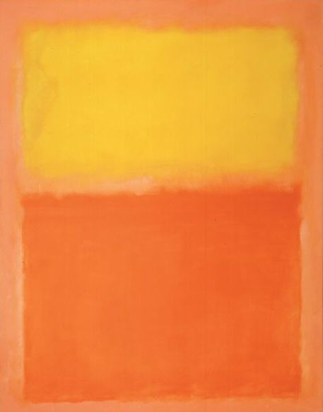 "Orange & Yellow - Mark Rothko 1956 - WikiPaintings.org    […] ""he applied numerous layers of thin paint with a brush or rag to unprepared canvas, which absorbed the colors into its fabric. The many thin washes help to give his paintings a lightness and brightness, as if they glow from within.