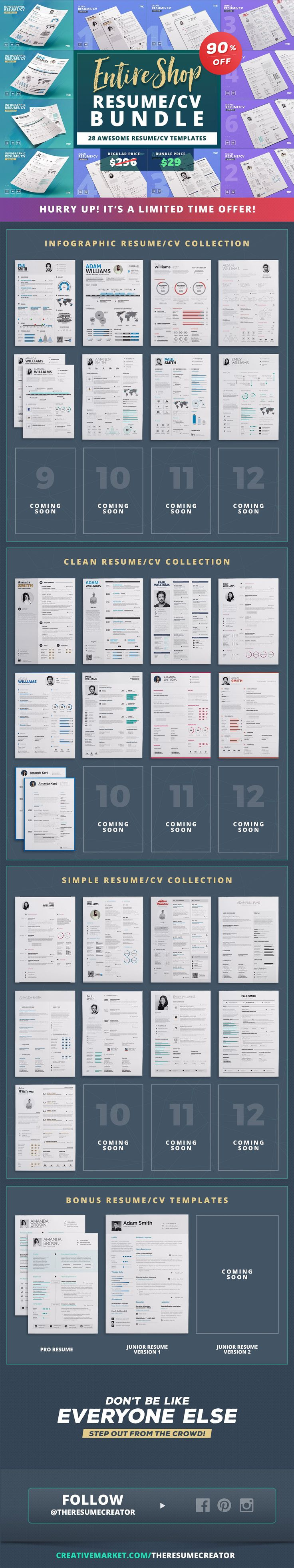 40 Best Resume Cv Bundles And Offers Images On Pinterest