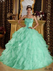 Sweet Organza Strapless Appliques Quinceanera Gown in Apple Green