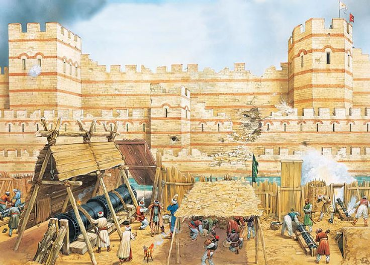 The Theodosian walls are bombarded by Mehmet the Conqueror, Constantinople AD 1453