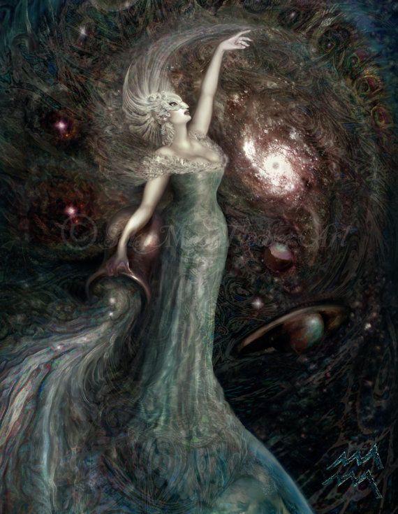 Aquarius Star Goddess Zodiac painting by SolarMoonFlowerArt