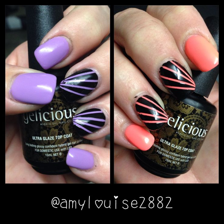 Striping Tape mani using Gelicious 'Bubblegum Yum' (LEFT) and 'Electric Melon' (RIGHT)