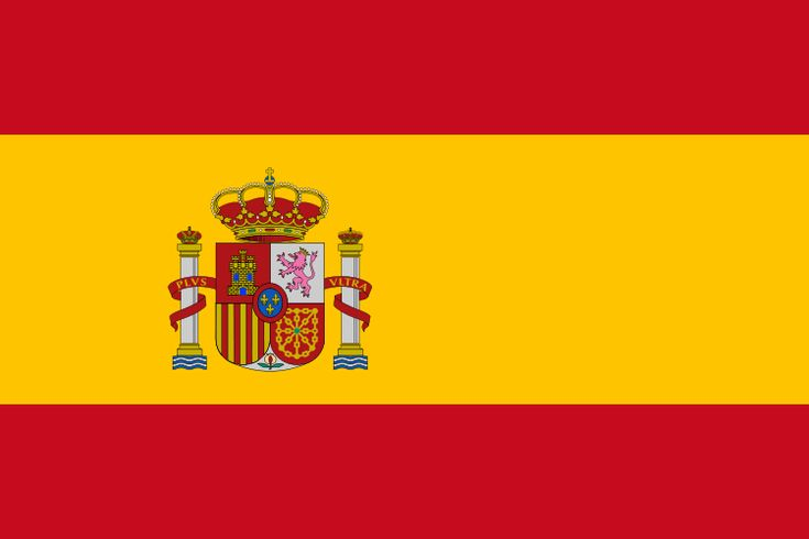 National flag of Spain from http://www.flagsinformation.com/spanish-country-flag.html  Three horizontal bands of red (top), yellow (double width), and red with the national coat of arms on the hoist side of the yellow band; the coat of arms is quartered to display the emblems of the traditional kingdoms of Spain.