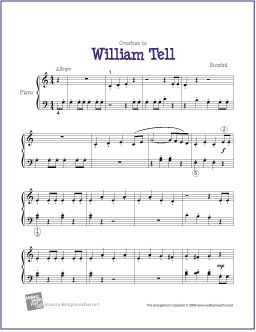 Overture to William Tell (Rossini) - Free Sheet Music for Easy Piano - http://makingmusicfun.net/htm/f_printit_free_printable_sheet_music/overture-to-william-tell.htm