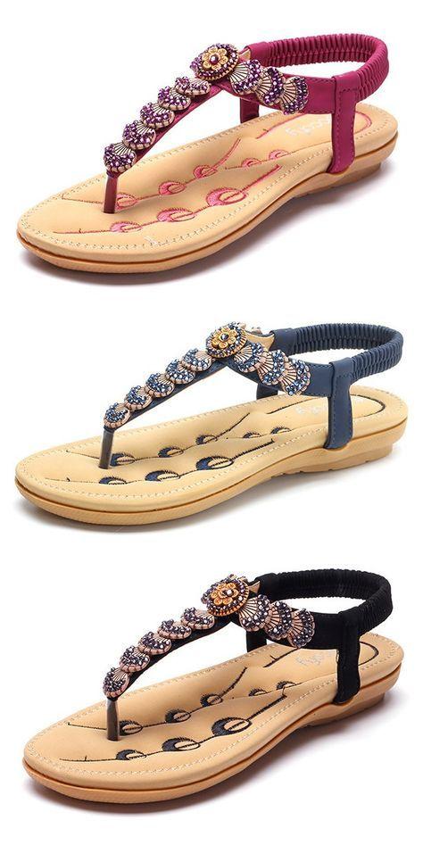 US$22.57 SOCOFY Flower Bohemia Beaded Clip Toe Slip On Flat Sandals