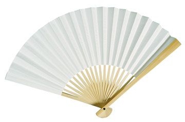 paper Fans to help with heat? $0.95 each available in white, blush, etc.