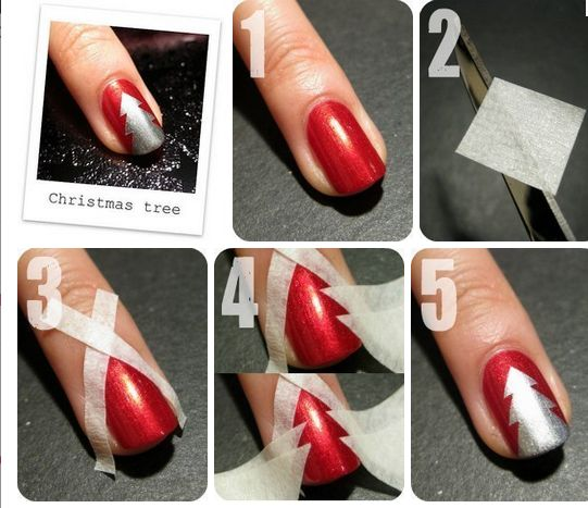 nail art très simple pour Noël  matériel nécessaire  ,vernis rouge ,vernis blanc