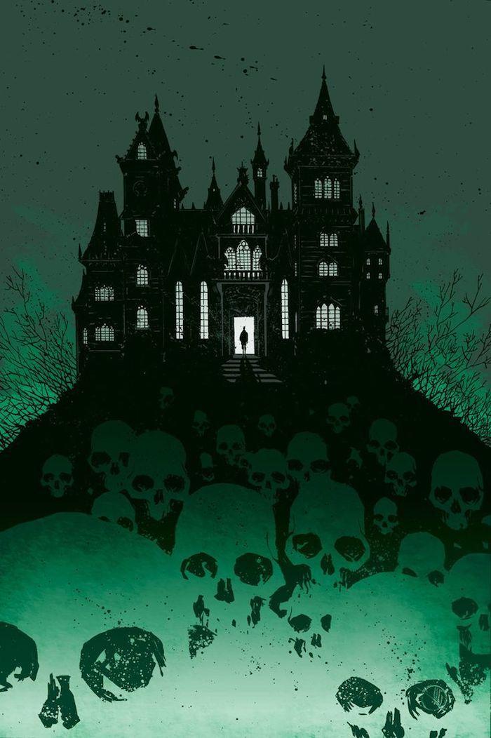 ein Schloss mit gruselige Schädel, die dazu führen   Halloween Hintergrund
