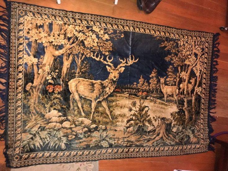 Details About Vintage Tapestry Wall Hanging Rug Elk Buck