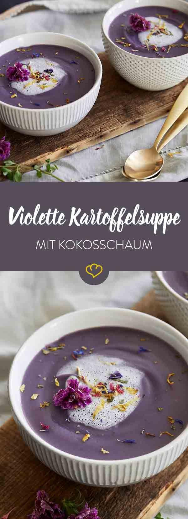 So einfach und doch so extravagant. Violette Kartoffeln, exotischer Kokosschaum und essbare Blüten verwandeln deinen Suppenteller in ein buntes Wunderland.