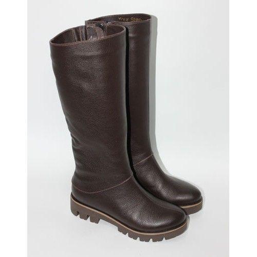 Обувь Шоколадные кожаные сапожки на тракторной подошве