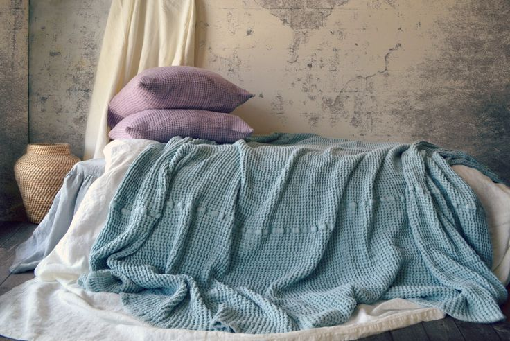 Super Heavy Duck Egg Blue Waffle Textured Stonewashed Linen Throw/ Bed cover/ Linen Blanket. Large size by HouseOfBalticLinen on Etsy https://www.etsy.com/listing/227657631/super-heavy-duck-egg-blue-waffle