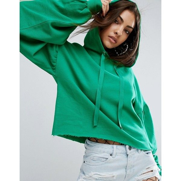 ASOS Hoodie with Dramatic Balloon Sleeve ($40) ❤ liked on Polyvore featuring tops, hoodies, green, oversized hooded sweatshirt, tall hooded sweatshirt, cotton hooded sweatshirt, green hooded sweatshirt and tall hoodie