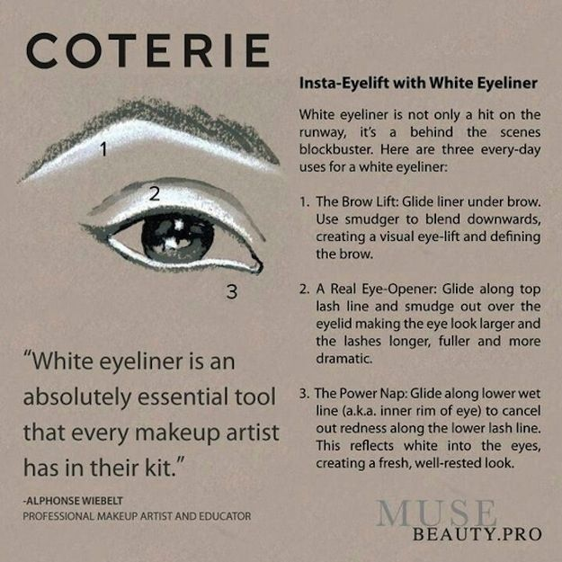 Use white liner to open up your eyes (literally) in all sorts of ways. | 15 Easy Hacks For PerfectEyeliner