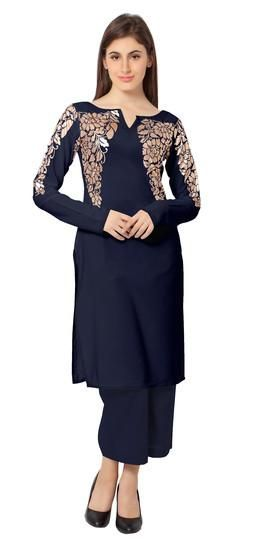 LadyIndia.com # Kurtas, Fancy Floral Cotton Blue Kurti For Women, Kurtis, Kurtas, Cotton Kurti, https://ladyindia.com/collections/ethnic-wear/products/fancy-floral-cotton-blue-kurti-for-women