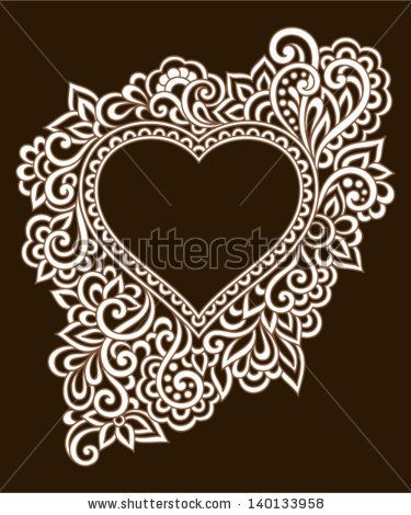 Vintage ornate frame with doodle elements. Pattern heart for wedding or Valentine's day by Bariskina, via Shutterstock