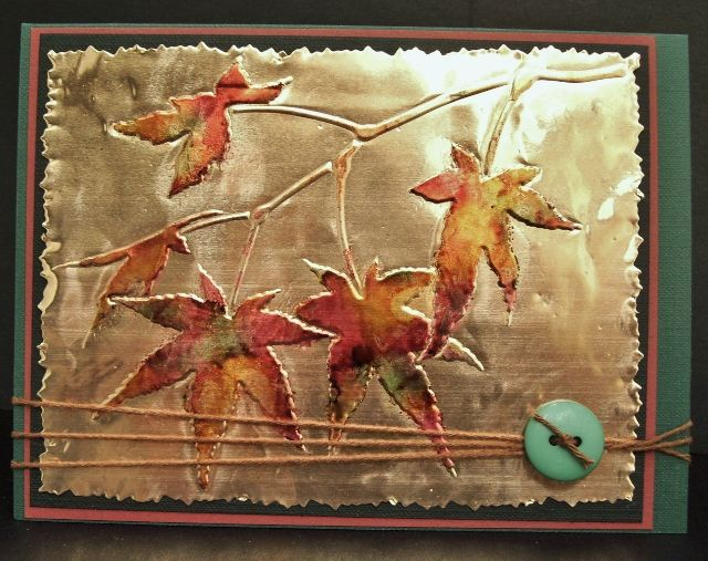 Copper Embossing Art | copper sheet embossed with stencil