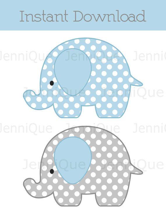 Elefante para imprimir decoraciones, decoración de ducha bebé elefantes, elefante cumpleaños decoración, lunares, luz azul y gris #EC05