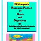 Improve and streamline your IEP writing with this unique product.  It is a complete packet of over 200 goal and objectives that may be customized to fit your specific needs. Step by step directions included.   Save time and easily achieve your goal to Teach Every Child with clearly written goals and objectives.  Areas include:  Academics, Social Adaptation, Behavior, Self Help and Prevocational skills.  Let Old School experience Work to save you time.
