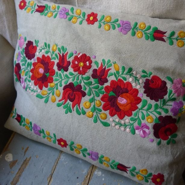Antique Embroidered Matyo Cushion Cover