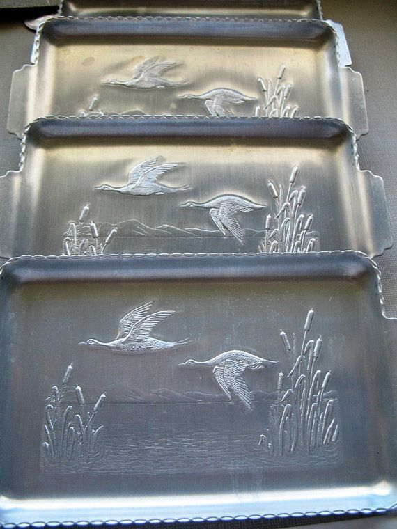 vintage aluminum trays vintage aluminum tray set of 4 with ducks or geese in 3156
