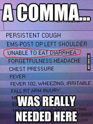 Please use commas. #grammarfail