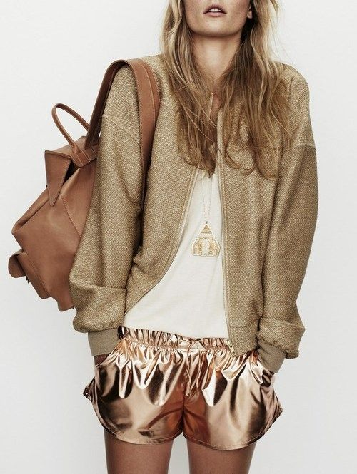 Gold Bomber + Metallic Shorts