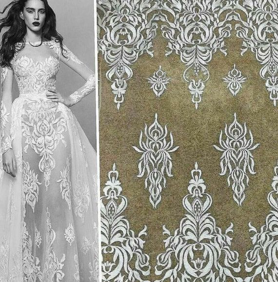 Elegant Fashion Ivory lace fabric Tull lace fabric embroidered lace wedding lace fabric