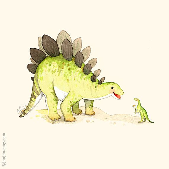 S is for Stegosaurus Print of an original watercolor illustration by me. My prints are archival, fade-resistant and with vivid colors and will last