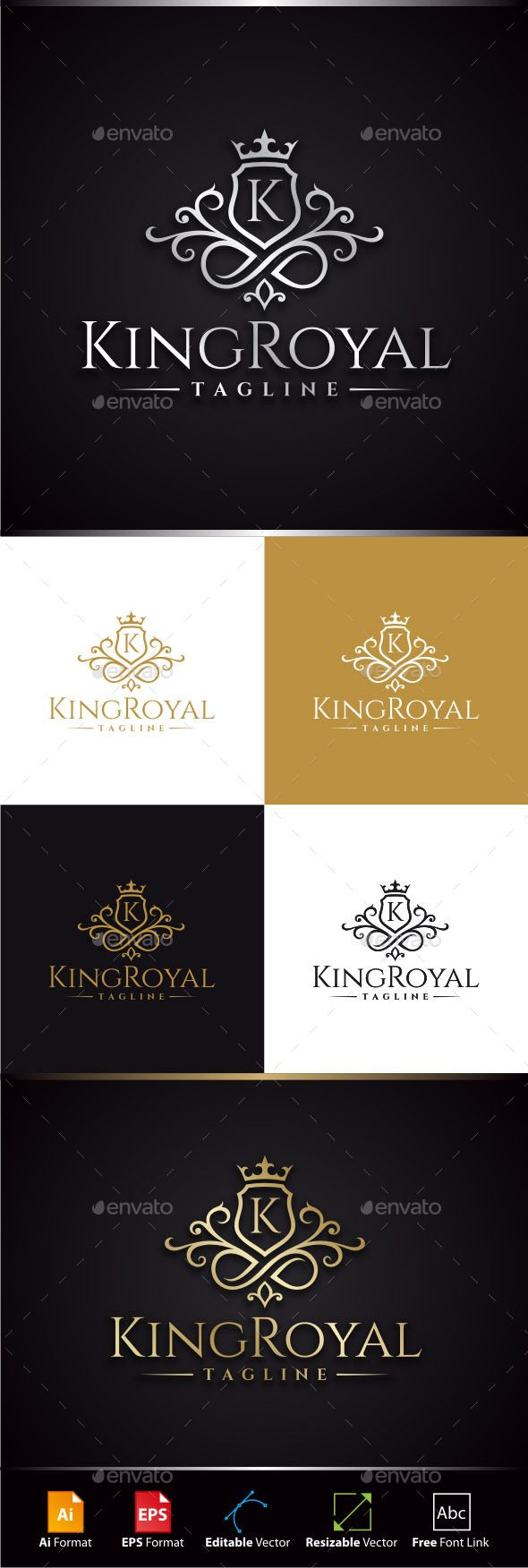 King Royal Logo Template #design #logo Download: http://graphicriver.net/item/king-royal-logo/11446600?ref=ksioks